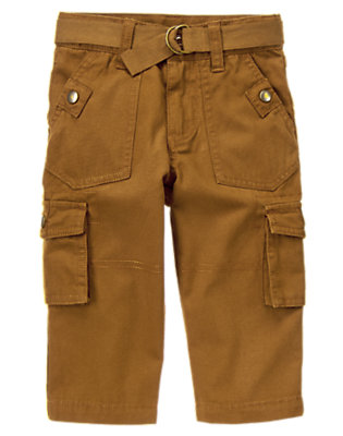 Elk Brown Belted Canvas Cargo Pant by Gymboree