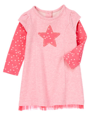 Toddler Girls Circus Pink Star Double Sleeve Dress by Gymboree
