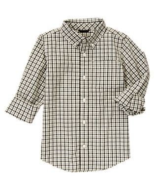 Black Check Tattersall Shirt by Gymboree
