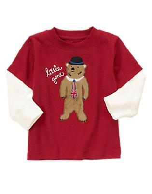 London Red Gentleman Bear Double Sleeve Tee by Gymboree