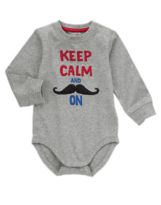 Toddler Boys Foggy Heather Grey Keep Calm Moustache Bodysuit/Tee by Gymboree