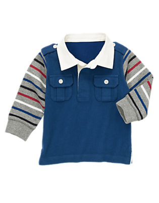 Toddler Boys Tower Blue Chest Pocket Rugby Shirt by Gymboree