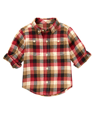 London Red Plaid Plaid Flannel Shirt by Gymboree