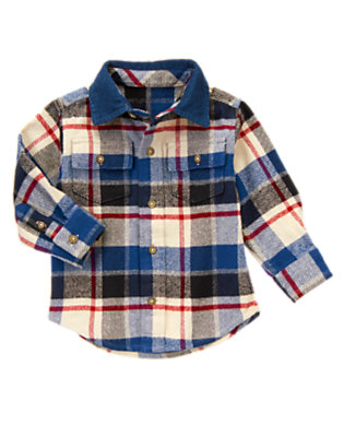 Toddler Boys Tower Blue Plaid Plaid Flannel Shirt by Gymboree