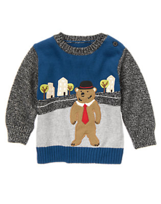 Tower Blue London Bear Pullover Sweater by Gymboree