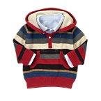 Oxford Collar Stripe Hooded Sweater