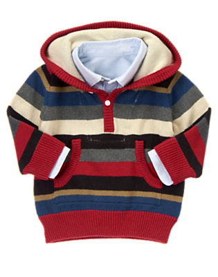 Toddler Boys Heather Grey Stripe Oxford Collar Stripe Hooded Sweater by Gymboree