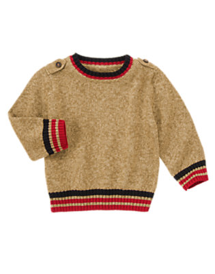Marled Toffee Brown Shoulder Tab Pullover Sweater by Gymboree