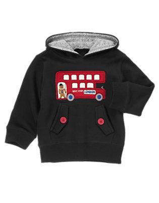 Black London Bus Pullover Hoodie by Gymboree
