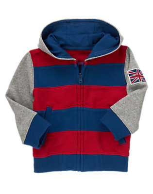 London Red Stripe London Patch Stripe Fleece Hoodie by Gymboree