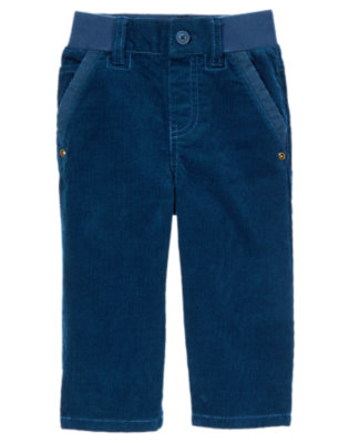Tower Blue Ribbed Waist Corduroy Pant by Gymboree