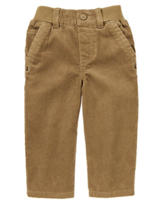Toddler Boys Caramel Brown Ribbed Waist Corduroy Pant by Gymboree