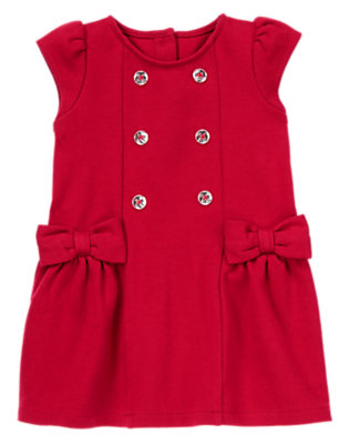 Toddler Girls Holiday Red Gem Button Ponte Dress by Gymboree