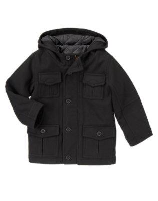 Black Melton Cargo Hooded Jacket by Gymboree