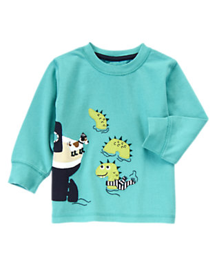 Toddler Boys Foggy Teal Scenic Boat Tee by Gymboree