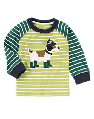 Pine Green Stripe Striped Scotty Pup Tee by Gymboree