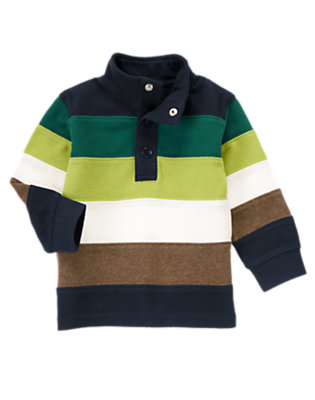 Gym Navy Stripe Mock Neck Rugby by Gymboree