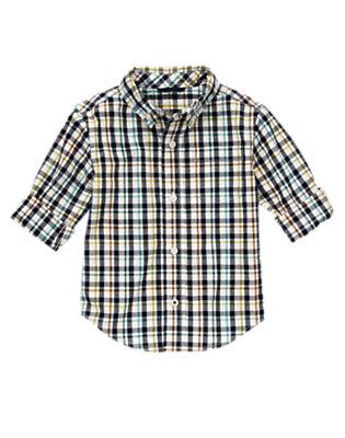 White Plaid Plaid Shirt by Gymboree
