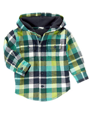 Seaweed Green Plaid Flannel Shacket by Gymboree