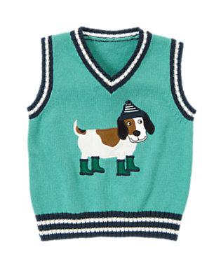 Foggy Teal Dog Sweater Vest by Gymboree