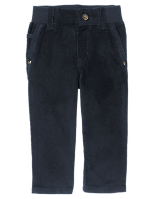 Toddler Boys Gym Navy Ribbed Waist Corduroy Pants by Gymboree