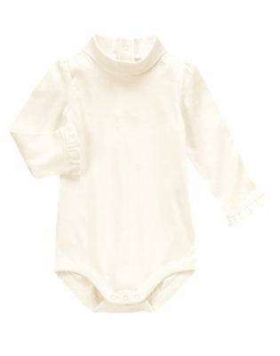 Toddler Girls Ivory Turtleneck Bodysuit/Tee by Gymboree