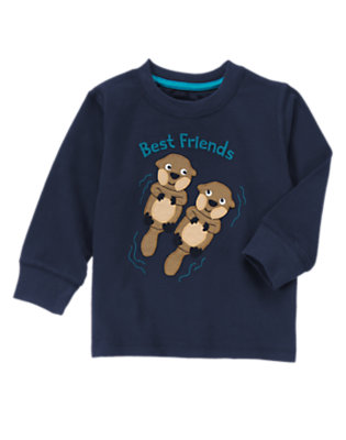 Toddler Boys Gym Navy Otter Friends Tee by Gymboree