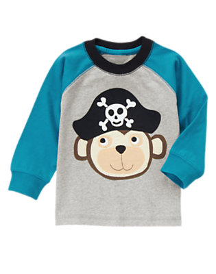 Toddler Boys Heathered Grey Pirate Monkey Tee by Gymboree