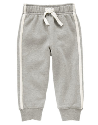Toddler Boys Heathered Grey Athletic Stripe Fleece Pant by Gymboree