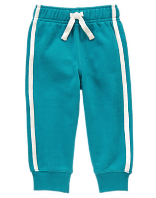 Toddler Boys Hazy Blue Athletic Stripe Fleece Pant by Gymboree