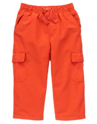Toddler Boys Dark Orange Fleece Lined Cargo Active Pant by Gymboree
