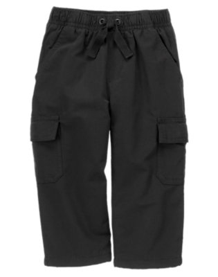 Toddler Boys Black Fleece Lined Cargo Active Pant by Gymboree