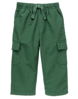 Toddler Boys Pine Green Fleece Lined Cargo Active Pant by Gymboree