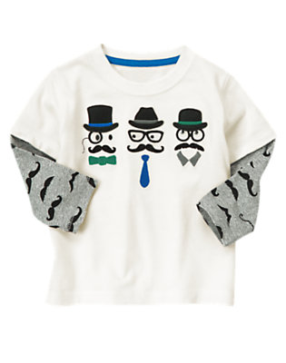 Ivory Moustache Guys Double Sleeve Tee by Gymboree