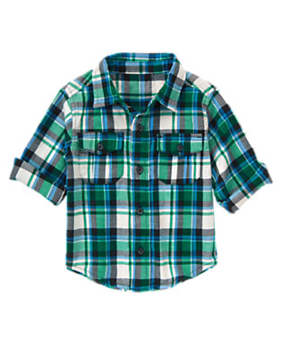 Toddler Boys Vivid Green Plaid Plaid Shirt by Gymboree