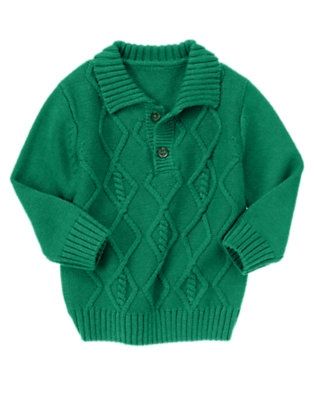 Vivid Green Cable Half Button Sweater by Gymboree
