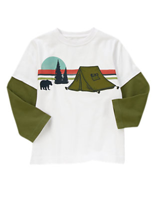 White Double Sleeve Campground Tee by Gymboree