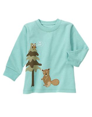 Toddler Boys Kayak Blue Beaver & Owl Tee by Gymboree