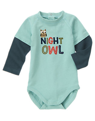 Toddler Boys Kayak Blue Double Sleeve Night Owl Bodysuit/Tee by Gymboree
