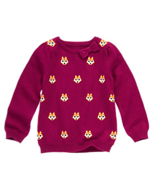 Girls Berry Purple Bow Fox Sweater by Gymboree