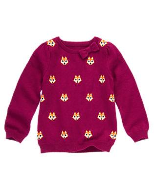 Girls Berry Purple Bow Fox Sweater by Gymboree