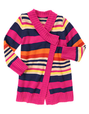 Girls Eclipse Navy Stripe Stripe Sweater Cardigan by Gymboree