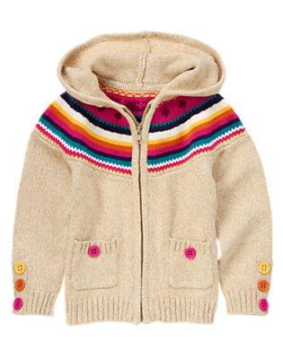 Girls Heathered Wheat Fair Isle Sweater Hoodie by Gymboree