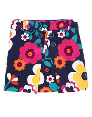 Girls Eclipse Navy Floral Button Floral Corduroy Skort by Gymboree