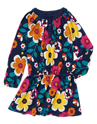 Girls Eclipse Navy Floral Floral Dress by Gymboree