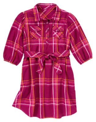 Girls Berry Purple Plaid Pickstitched Plaid Shirt Dress by Gymboree