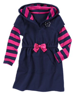 Girls Eclipse Navy Gem Fleece Terry Hoodie Dress by Gymboree