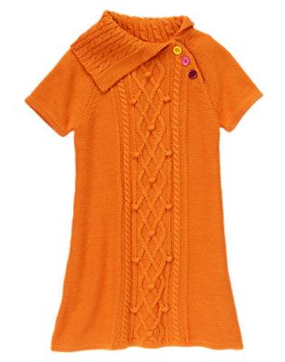 Girls Pumpkin Orange Split Neck Cable Sweater Dress by Gymboree