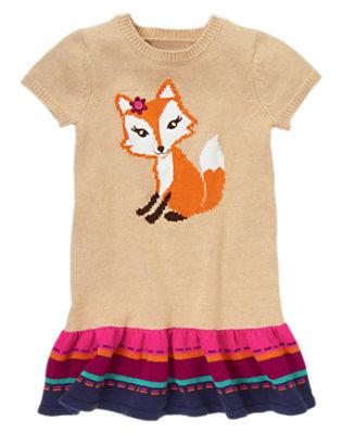 Girls Heathered Wheat Flower Fox Sweater Dress by Gymboree