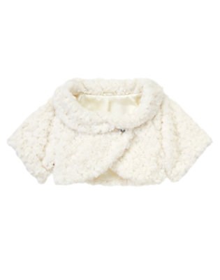 Winter Ivory Faux Fur Crop Jacket by Gymboree